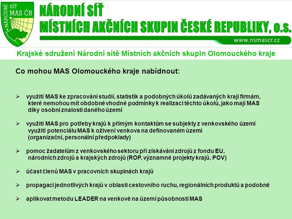 Krajské sdružení Národní sítě Místních akčních skupin Olomouckého kraje Co mohou MAS Olomouckého kraje nabídnout:  využití MAS ke zpracování studií, statistik a podobných úkolů zadávaných kraji firmám, které nemohou mít obdobně vhodné podmínky k realizaci těchto úkolů, jako mají MAS díky osobní znalosti daného území  využití MAS pro potřeby krajů k přímým kontaktům se subjekty z venkovského území využití potenciálu MAS k oživení venkova na definovaném území (organizační, personální předpoklady)  pomoc žadatelům z venkovského sektoru při získávání zdrojů z fondu EU, národních zdrojů a krajských zdrojů (ROP, významné projekty krajů, POV)  účast členů MAS v pracovních skupinách krajů  propagaci jednotlivých krajů v oblasti cestovního ruchu, regionálních produktů a podobně  aplikovat metodu LEADER na venkově na území působnosti MAS
