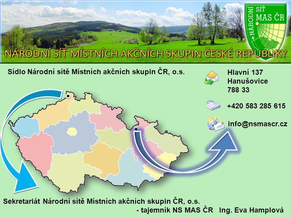 Hlavní 137 Hanušovice 788 33 +420 583 285 615 info@nsmascr.cz Sídlo Národní sítě Místních akčních skupin ČR, o.s.