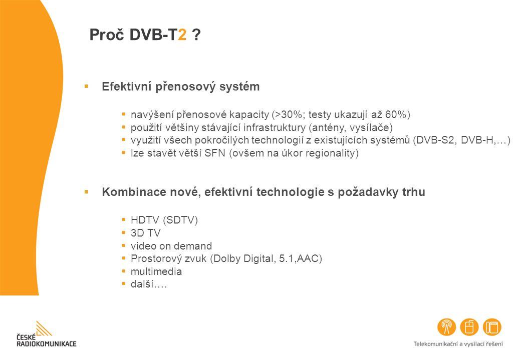 Proč DVB-T2 ?  Efektivní přenosový systém  navýšení přenosové kapacity (>30%; testy ukazují až 60%)  použití většiny stávající infrastruktury (anté