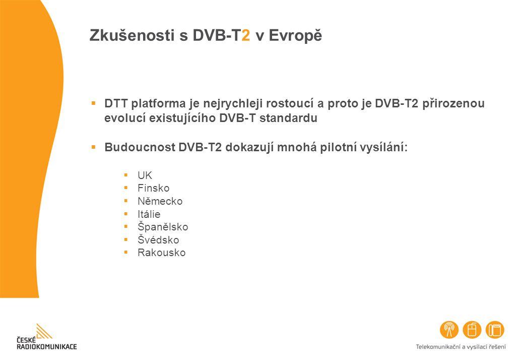 Zkušenosti s DVB-T2 v Evropě  DTT platforma je nejrychleji rostoucí a proto je DVB-T2 přirozenou evolucí existujícího DVB-T standardu  Budoucnost DV