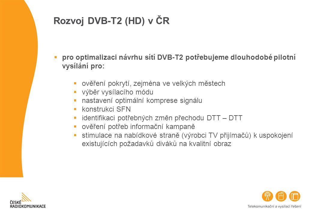 pro optimalizaci návrhu sítí DVB-T2 potřebujeme dlouhodobé pilotní vysílání pro:  ověření pokrytí, zejména ve velkých městech  výběr vysílacího mó