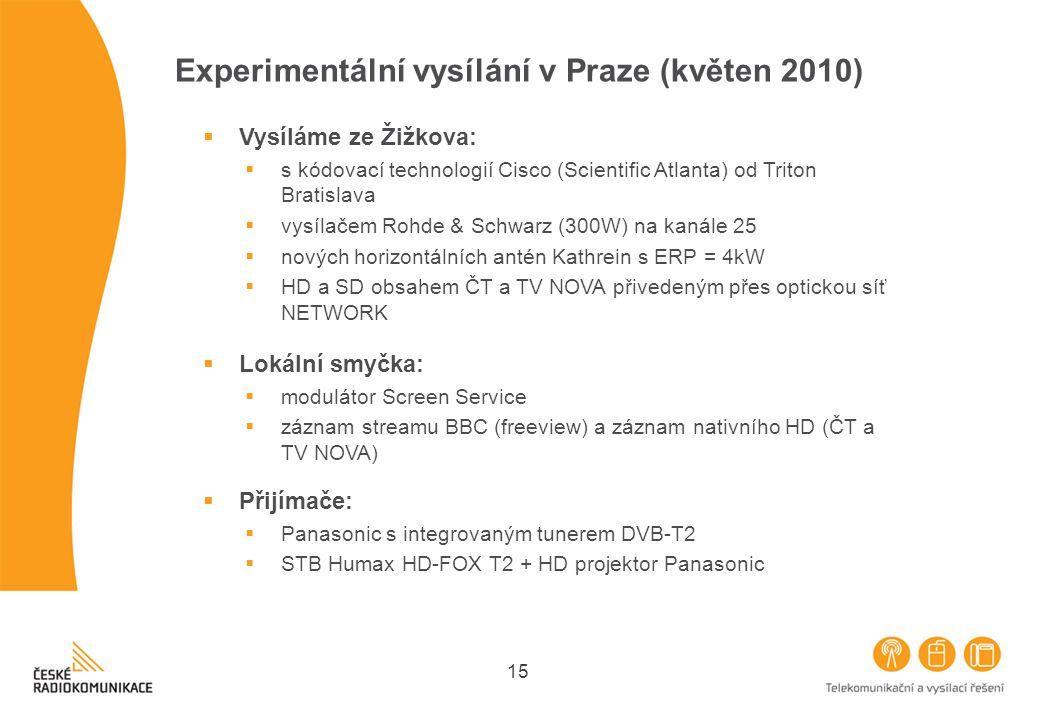 15 Experimentální vysílání v Praze (květen 2010)  Lokální smyčka:  modulátor Screen Service  záznam streamu BBC (freeview) a záznam nativního HD (Č
