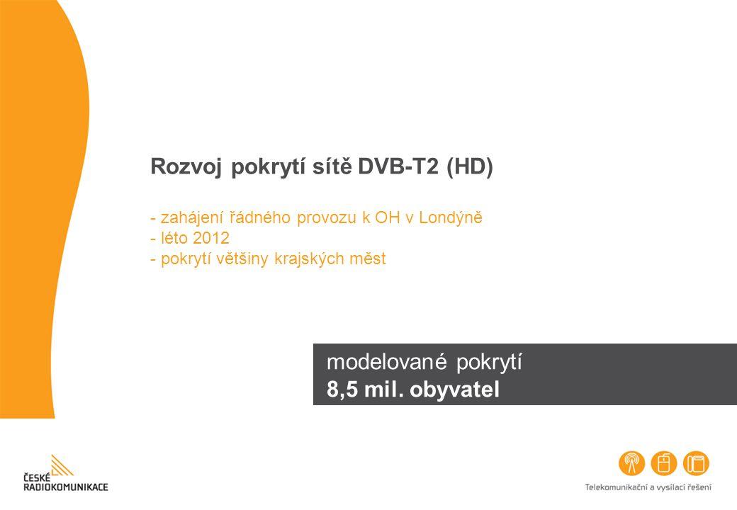 Rozvoj pokrytí sítě DVB-T2 (HD) - zahájení řádného provozu k OH v Londýně - léto 2012 - pokrytí většiny krajských měst modelované pokrytí 8,5 mil. oby