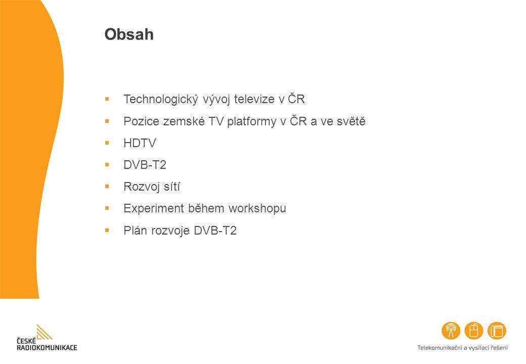 Obsah  Technologický vývoj televize v ČR  Pozice zemské TV platformy v ČR a ve světě  HDTV  DVB-T2  Rozvoj sítí  Experiment během workshopu  Pl