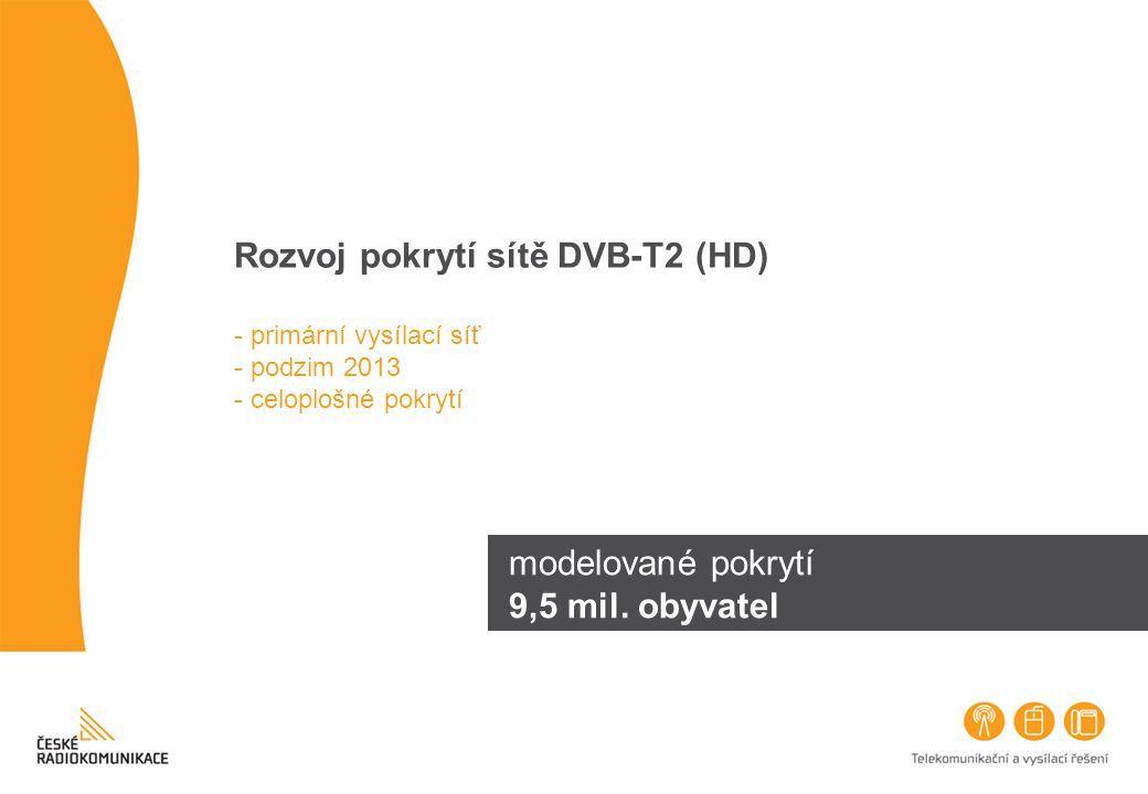 Rozvoj pokrytí sítě DVB-T2 (HD) - primární vysílací síť - podzim 2013 - celoplošné pokrytí modelované pokrytí 9,5 mil. obyvatel