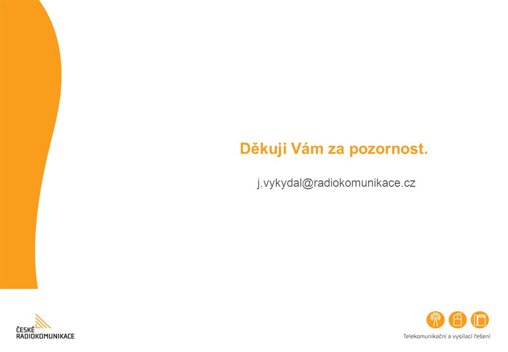 Děkuji Vám za pozornost. j.vykydal@radiokomunikace.cz