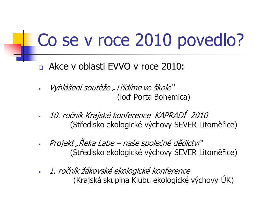 """Co se v roce 2010 povedlo?  Akce v oblasti EVVO v roce 2010:  Vyhlášení soutěže """"Třídíme ve škole"""" (loď Porta Bohemica)  10. ročník Krajské konfere"""