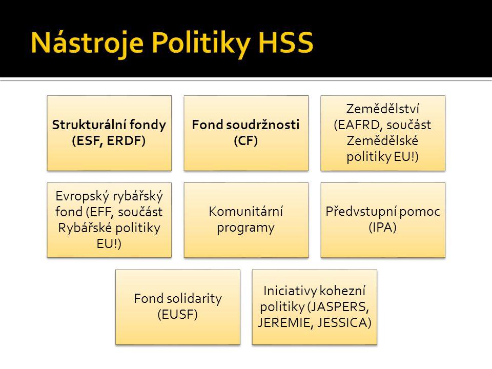 Strukturální fondy (ESF, ERDF) Fond soudržnosti (CF) Zemědělství (EAFRD, součást Zemědělské politiky EU!) Evropský rybářský fond (EFF, součást Rybářské politiky EU!) Komunitární programy Předvstupní pomoc (IPA) Fond solidarity (EUSF) Iniciativy kohezní politiky (JASPERS, JEREMIE, JESSICA)
