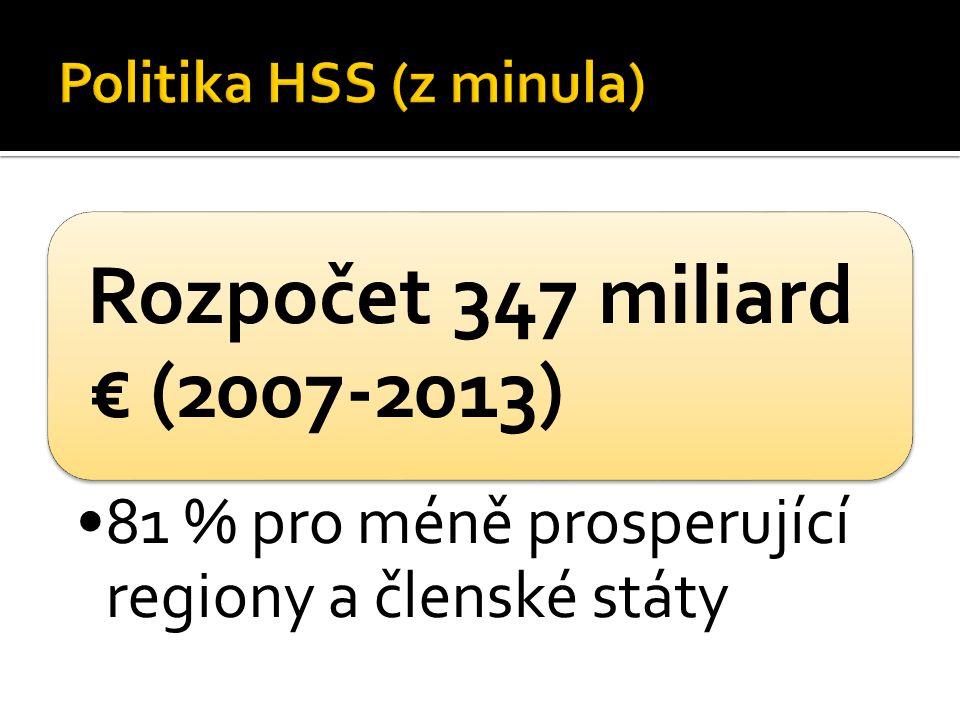 Rozpočet 347 miliard € (2007-2013) 81 % pro méně prosperující regiony a členské státy