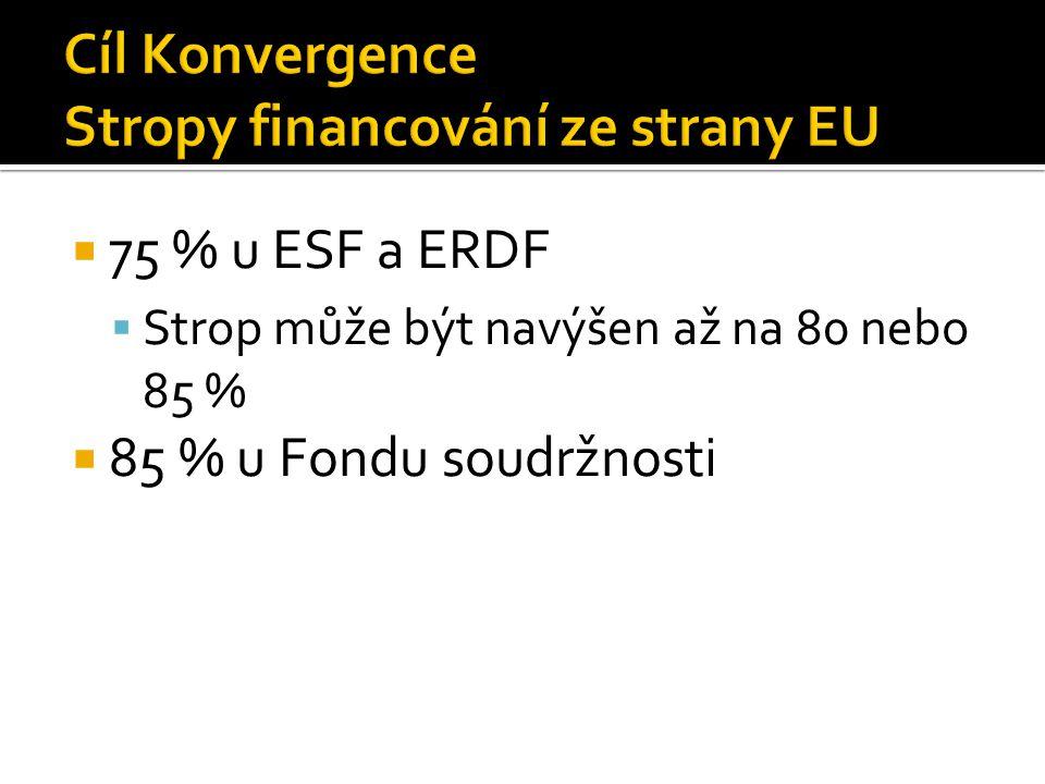  75 % u ESF a ERDF  Strop může být navýšen až na 80 nebo 85 %  85 % u Fondu soudržnosti
