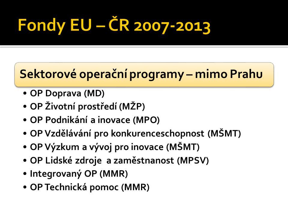 Sektorové operační programy – mimo Prahu OP Doprava (MD) OP Životní prostředí (MŽP) OP Podnikání a inovace (MPO) OP Vzdělávání pro konkurenceschopnost (MŠMT) OP Výzkum a vývoj pro inovace (MŠMT) OP Lidské zdroje a zaměstnanost (MPSV) Integrovaný OP (MMR) OP Technická pomoc (MMR)