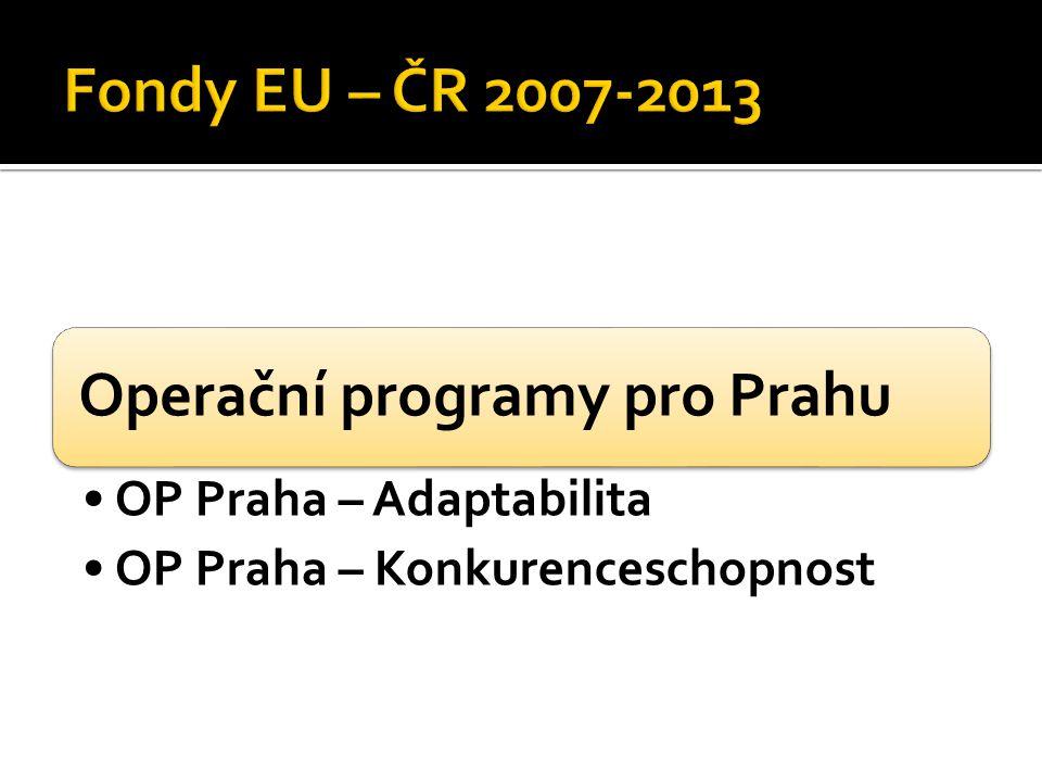 Operační programy pro Prahu OP Praha – Adaptabilita OP Praha – Konkurenceschopnost