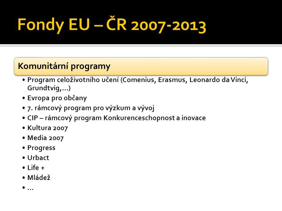 Komunitární programy Program celoživotního učení (Comenius, Erasmus, Leonardo da Vinci, Grundtvig,…) Evropa pro občany 7.