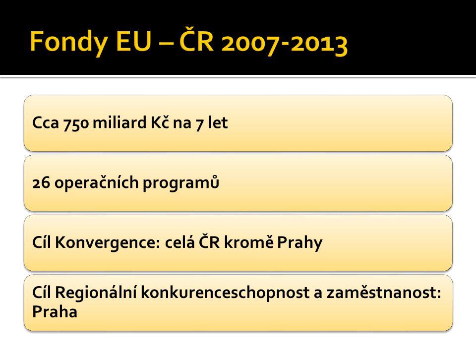 Cca 750 miliard Kč na 7 let26 operačních programůCíl Konvergence: celá ČR kromě Prahy Cíl Regionální konkurenceschopnost a zaměstnanost: Praha