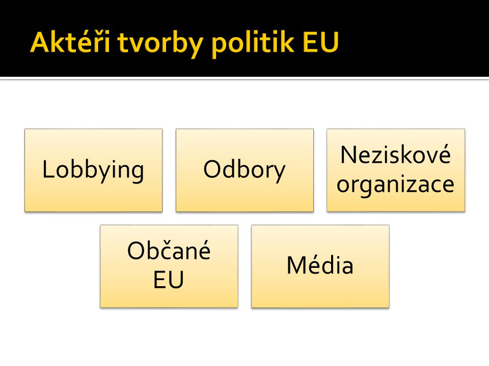 80 % úředníků EK a poslanců EP: Lobbying pomáhá při rozhodování (Burson Marsteller research) Přísná pravidla: Oficiální zápisy z jednání Akreditace lobistů Je zřejmé, koho lobisté reprezentují 2000: 2600 zájmových skupin v Bruselu 1/3 sdružení firem 1/5 soukromí poradci 1/10 zastoupení firem, neziskových organizací, národních hospodářských komor a federací odborů 1/20 zastoupení regionů a mezinárodních organizací 1/100 think tanky