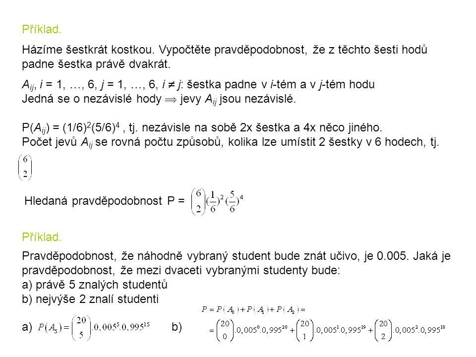 Příklad. Házíme šestkrát kostkou. Vypočtěte pravděpodobnost, že z těchto šesti hodů padne šestka právě dvakrát. A ij, i = 1, …, 6, j = 1, …, 6, i  j: