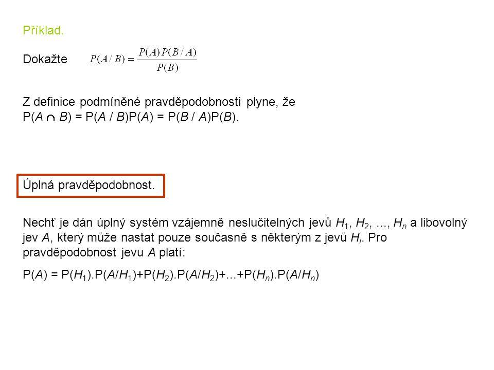 Příklad. Dokažte Z definice podmíněné pravděpodobnosti plyne, že P(A  B) = P(A / B)P(A) = P(B / A)P(B). Úplná pravděpodobnost. Nechť je dán úplný sys