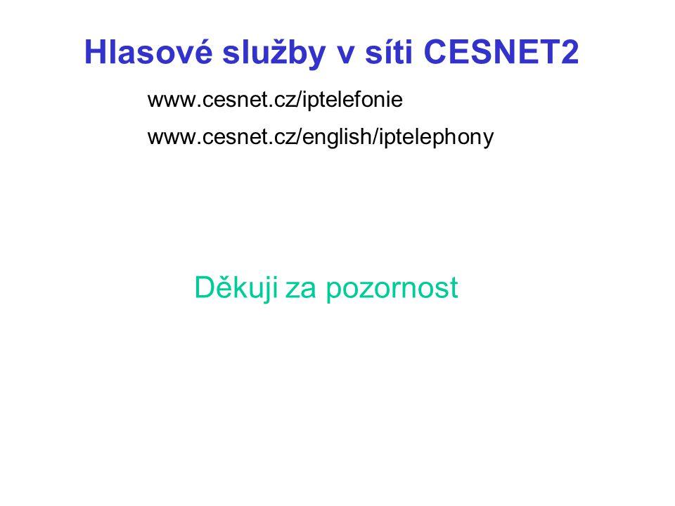 Děkuji za pozornost www.cesnet.cz/iptelefonie www.cesnet.cz/english/iptelephony Hlasové služby v síti CESNET2
