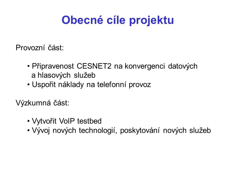 Obecné cíle projektu Provozní část: Připravenost CESNET2 na konvergenci datových a hlasových služeb Uspořit náklady na telefonní provoz Výzkumná část: Vytvořit VoIP testbed Vývoj nových technologií, poskytování nových služeb