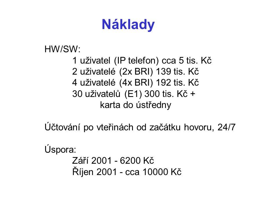 Náklady HW/SW: 1 uživatel (IP telefon) cca 5 tis. Kč 2 uživatelé (2x BRI) 139 tis.