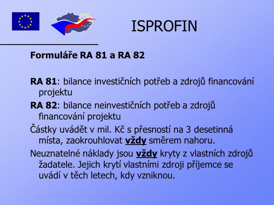 ISPROFIN Pravidla pro vyplňování RA 81 a RA 82:  aktuální rok = běžný rok (v tomto případě rok 2005, kdy žadatel podává žádost)  souhrn potřeb v příslušném roce musí být shodný se souhrnem zdrojů  náklady se zapisují do řádků dle způsobu účtování  zdroje: vlastní zdroje ř.
