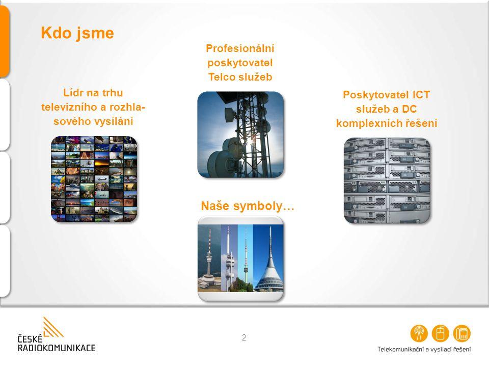 Kdo jsme 2 Lídr na trhu televizního a rozhla- sového vysílání Profesionální poskytovatel Telco služeb Poskytovatel ICT služeb a DC komplexních řešení Naše symboly…