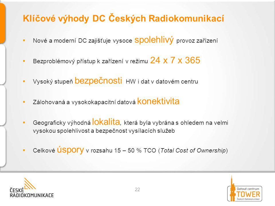 Klíčové výhody DC Českých Radiokomunikací  Nové a moderní DC zajišťuje vysoce spolehlivý provoz zařízení  Bezproblémový přístup k zařízení v režimu 24 x 7 x 365  Vysoký stupeň bezpečnosti HW i dat v datovém centru  Zálohovaná a vysokokapacitní datová konektivita  Geograficky výhodná lokalita, která byla vybrána s ohledem na velmi vysokou spolehlivost a bezpečnost vysílacích služeb  Celkové úspory v rozsahu 15 – 50 % TCO (Total Cost of Ownership) 22