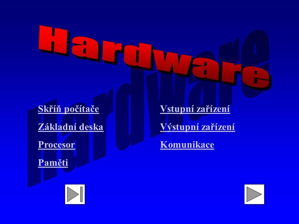 Skříň počítače Základní deska Procesor Paměti Vstupní zařízení Výstupní zařízení Komunikace