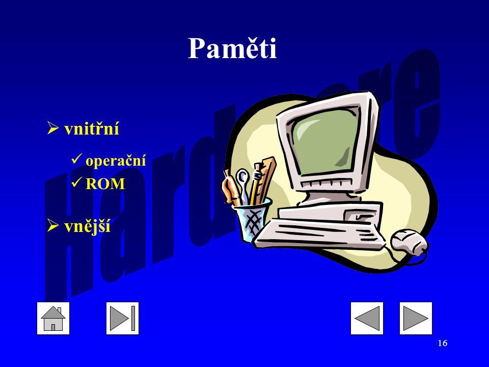 16  vnitřní operační ROM  vnější Paměti