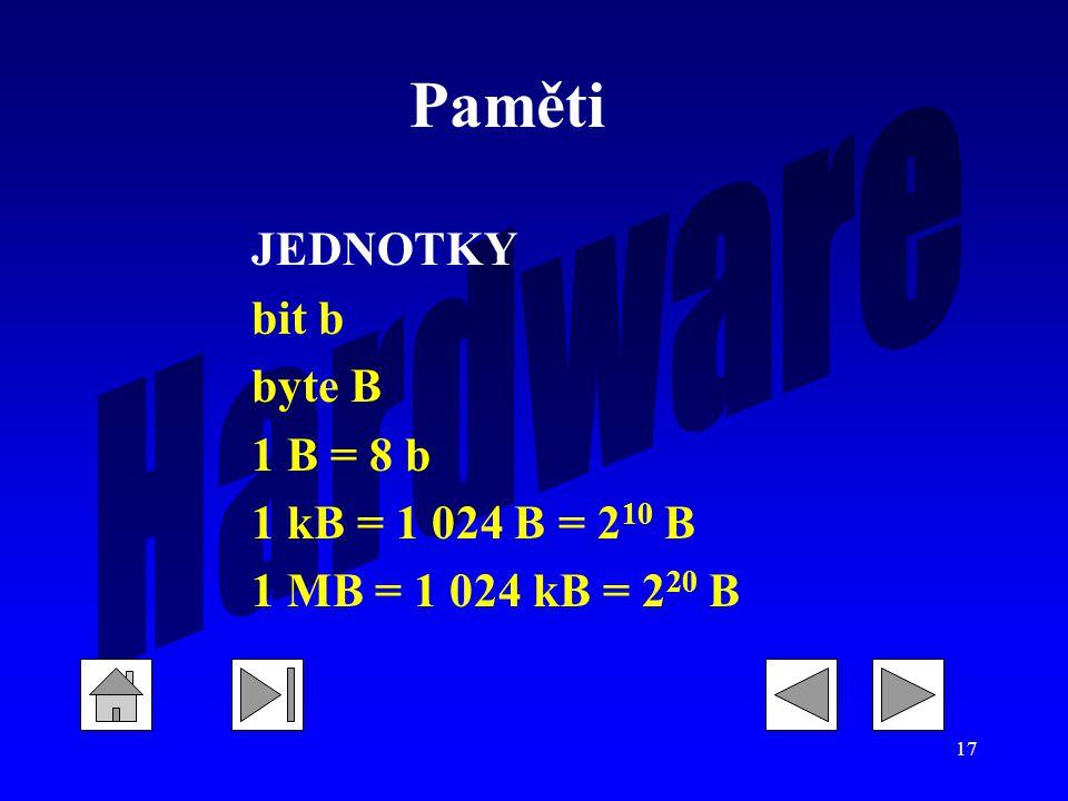 17 JEDNOTKY bit b byte B 1 B = 8 b 1 kB = 1 024 B = 2 10 B 1 MB = 1 024 kB = 2 20 B Paměti