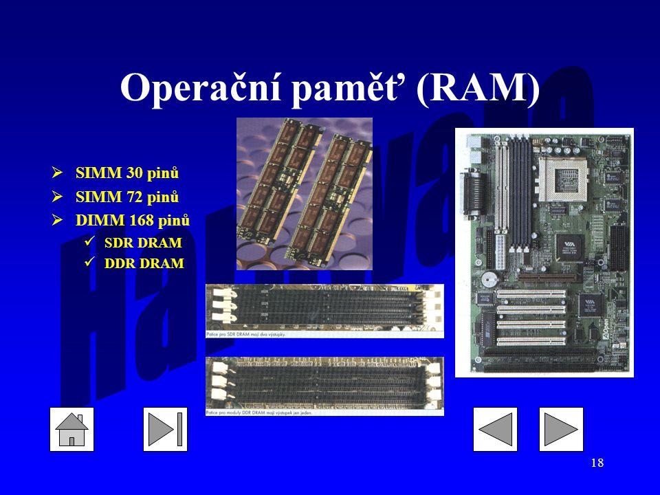 18 Operační paměť (RAM)  SIMM 30 pinů  SIMM 72 pinů  DIMM 168 pinů SDR DRAM DDR DRAM
