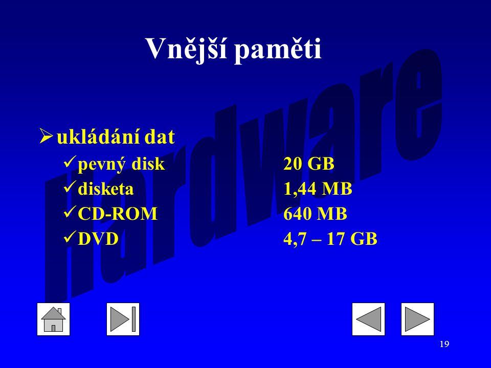 19  ukládání dat pevný disk20 GB disketa1,44 MB CD-ROM640 MB DVD4,7 – 17 GB Vnější paměti