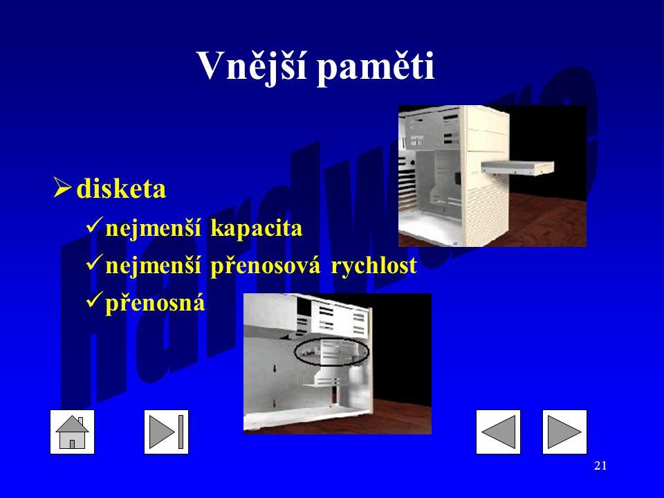 21  disketa nejmenší kapacita nejmenší přenosová rychlost přenosná Vnější paměti