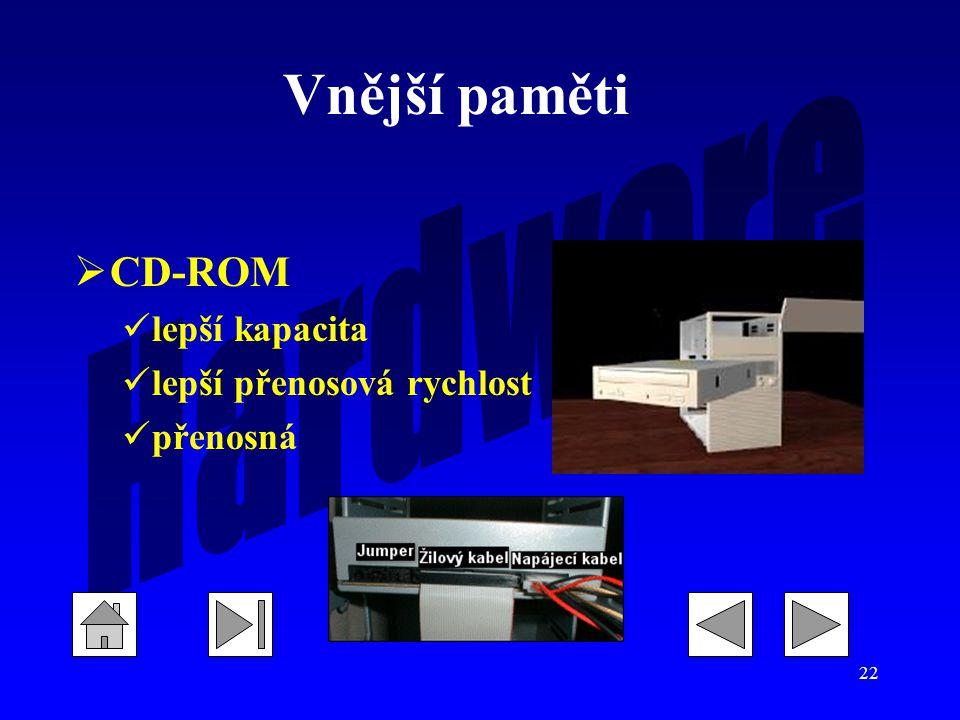 22  CD-ROM lepší kapacita lepší přenosová rychlost přenosná Vnější paměti