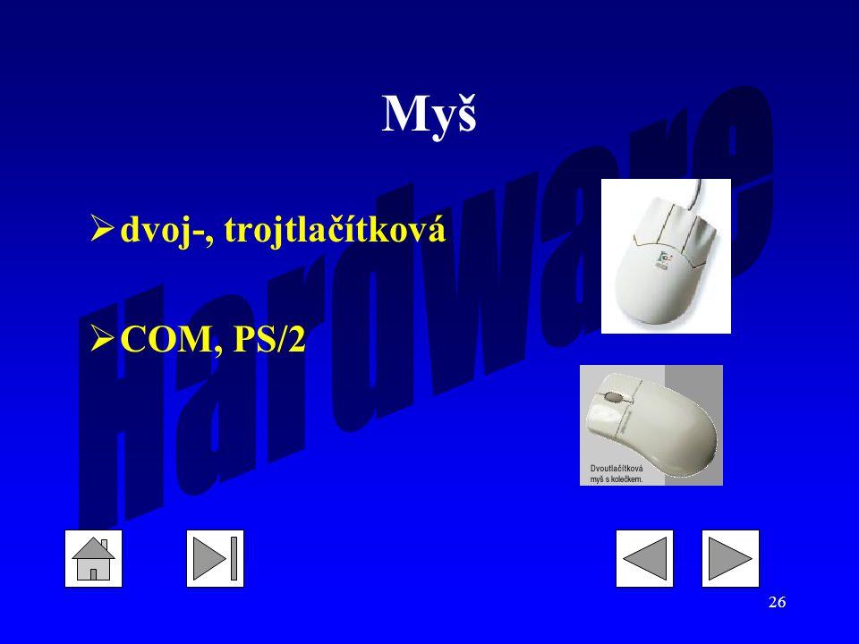 26 Myš  dvoj-, trojtlačítková  COM, PS/2