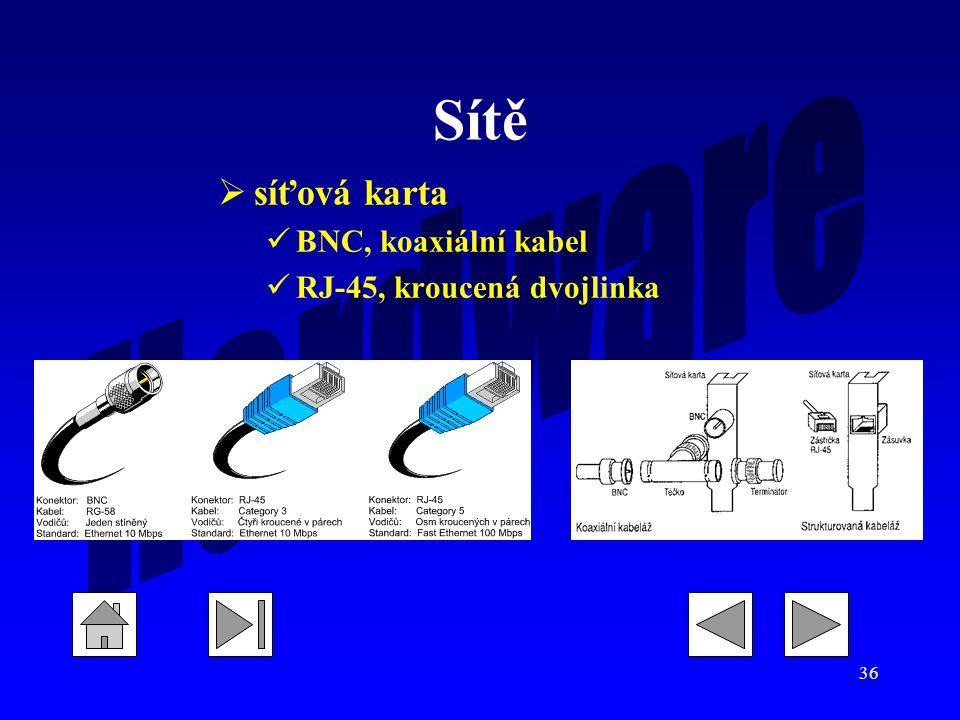 36 Sítě  síťová karta BNC, koaxiální kabel RJ-45, kroucená dvojlinka