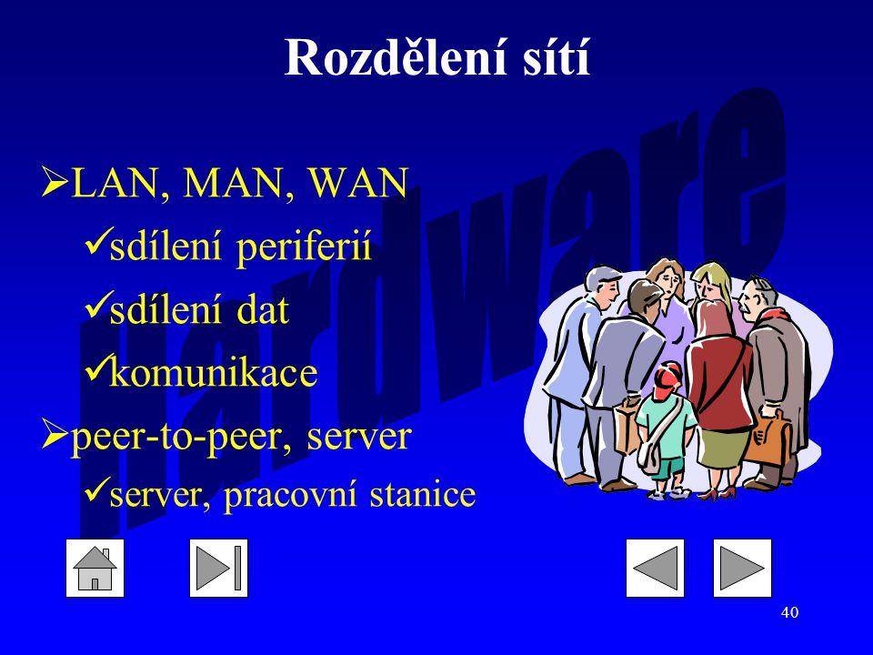 40 Rozdělení sítí  LAN, MAN, WAN sdílení periferií sdílení dat komunikace  peer-to-peer, server server, pracovní stanice
