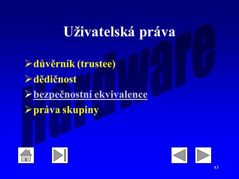 43 Uživatelská práva  důvěrník (trustee)  dědičnost  bezpečnostní ekvivalence bezpečnostní ekvivalence  práva skupiny