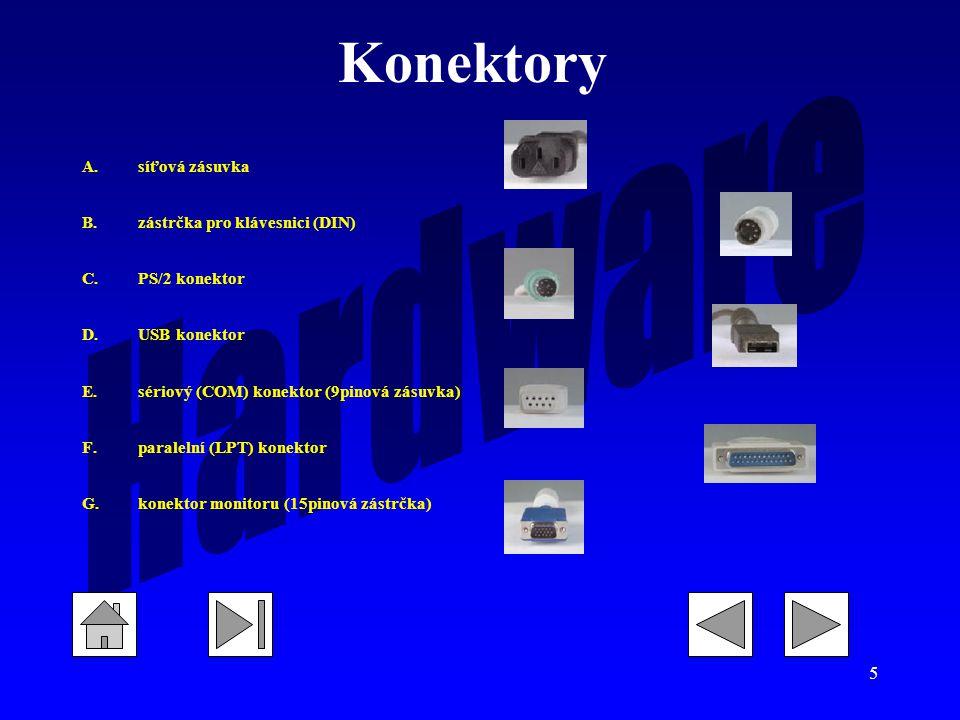 5 Konektory A.síťová zásuvka B.zástrčka pro klávesnici (DIN) C.PS/2 konektor D.USB konektor E.sériový (COM) konektor (9pinová zásuvka) F.paralelní (LPT) konektor G.konektor monitoru (15pinová zástrčka)