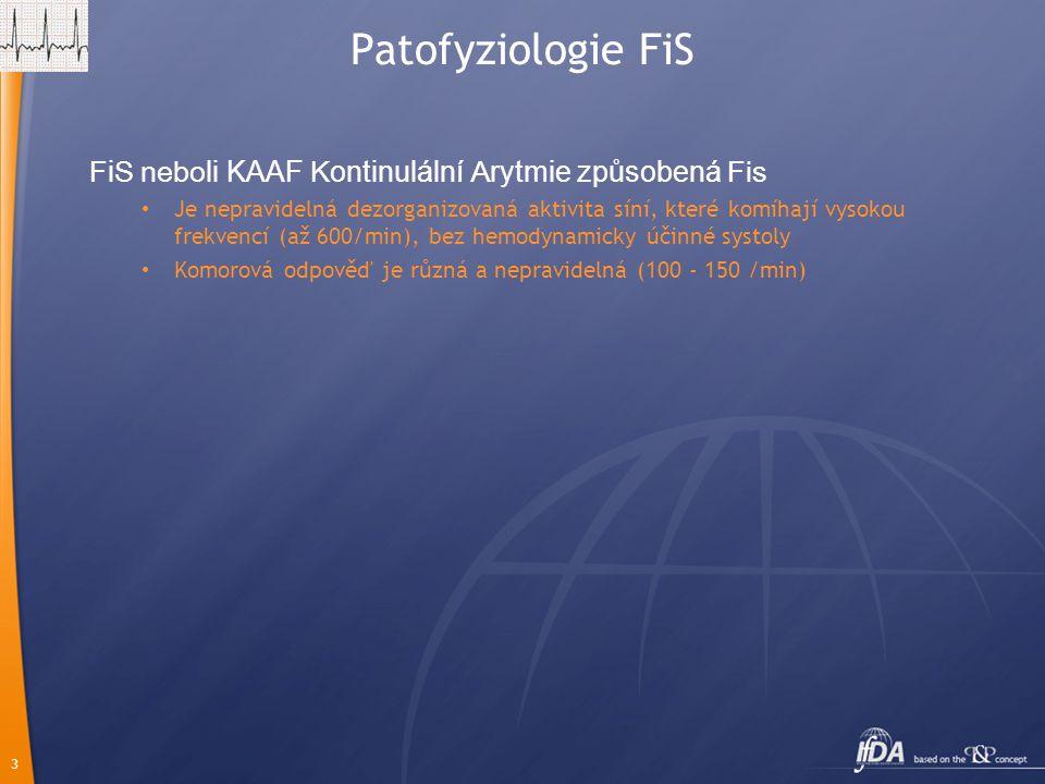 3 Patofyziologie FiS F i S nebo li KAAF K ontinulální A rytmie způsobená Fis Je nepravidelná dezorganizovaná aktivita síní, které komíhají vysokou frekvencí (až 600/min), bez hemodynamicky účinné systoly Komorová odpověď je různá a nepravidelná (100 - 150 /min)
