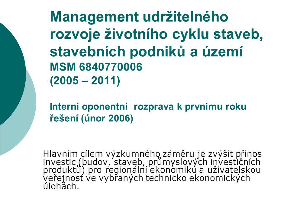 Management udržitelného rozvoje životního cyklu staveb, stavebních podniků a území MSM 6840770006 (2005 – 2011) Interní oponentní rozprava k prvnímu r