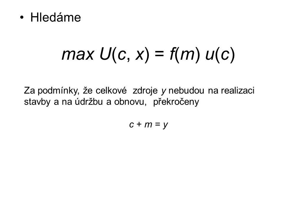 Hledáme max U(c, x) = f(m) u(c) Za podmínky, že celkové zdroje y nebudou na realizaci stavby a na údržbu a obnovu, překročeny c + m = y