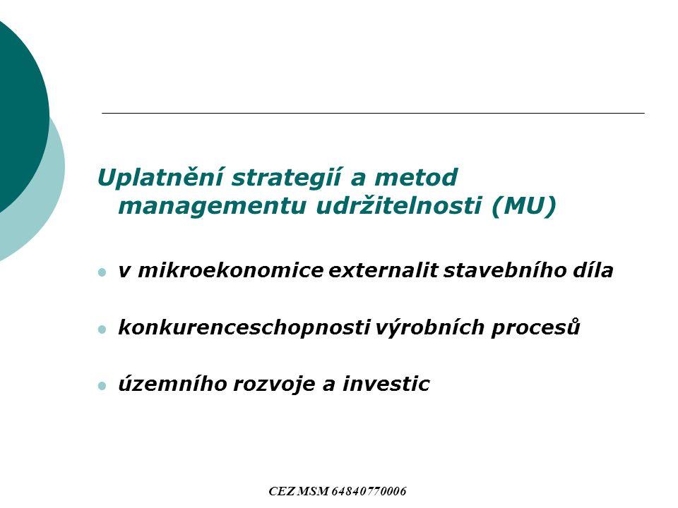 Uplatnění strategií a metod managementu udržitelnosti (MU) v mikroekonomice externalit stavebního díla konkurenceschopnosti výrobních procesů územního