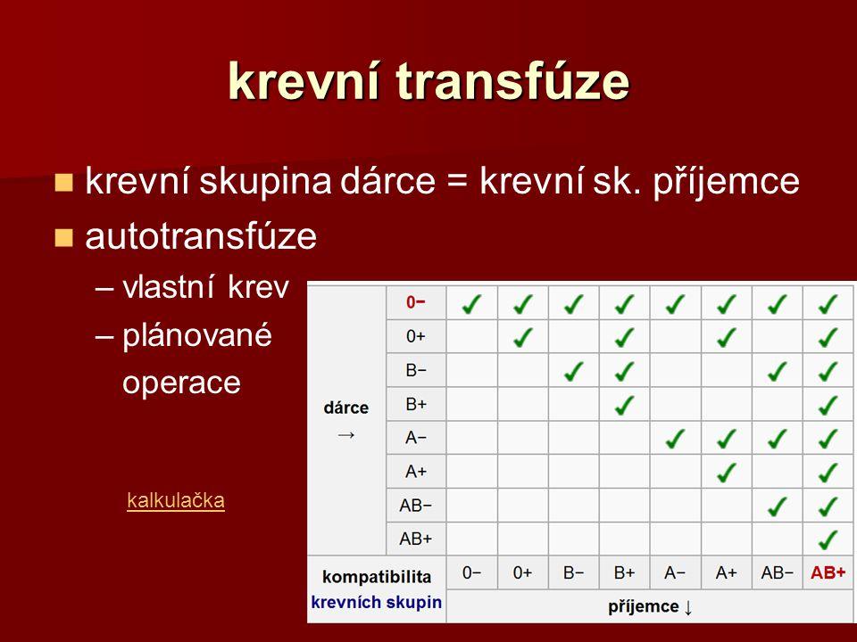 krevní transfúze krevní skupina dárce = krevní sk. příjemce autotransfúze –vlastní krev –plánované operace kalkulačka