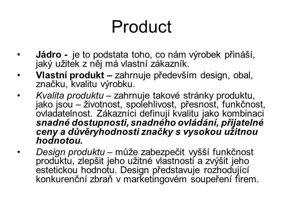 Product Jádro - je to podstata toho, co nám výrobek přináší, jaký užitek z něj má vlastní zákazník. Vlastní produkt – zahrnuje především design, obal,