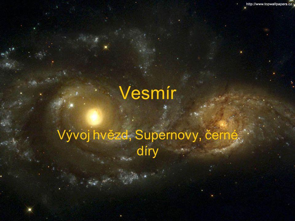 Vesmír Vývoj hvězd, Supernovy, černé díry