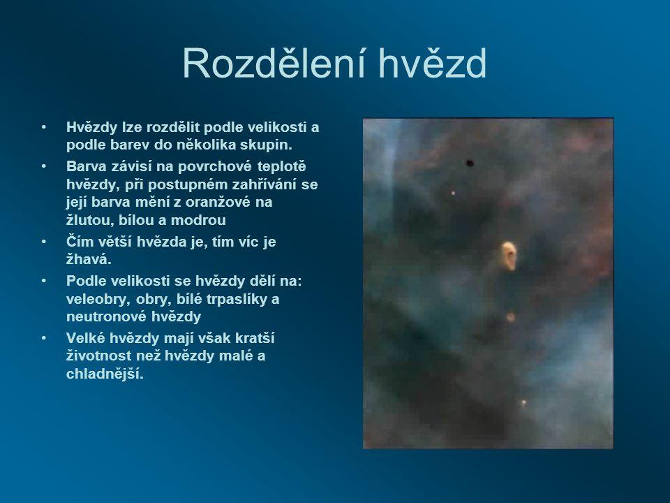 Rozdělení hvězd Hvězdy lze rozdělit podle velikosti a podle barev do několika skupin. Barva závisí na povrchové teplotě hvězdy, při postupném zahříván