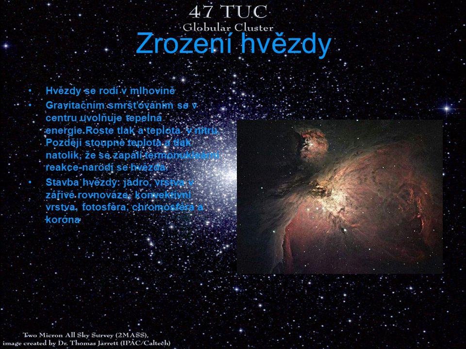 Zrození hvězdy Hvězdy se rodí v mlhovině Gravitačním smršťováním se v centru uvolňuje tepelná energie.Roste tlak a teplota v nitru. Později stoupne te