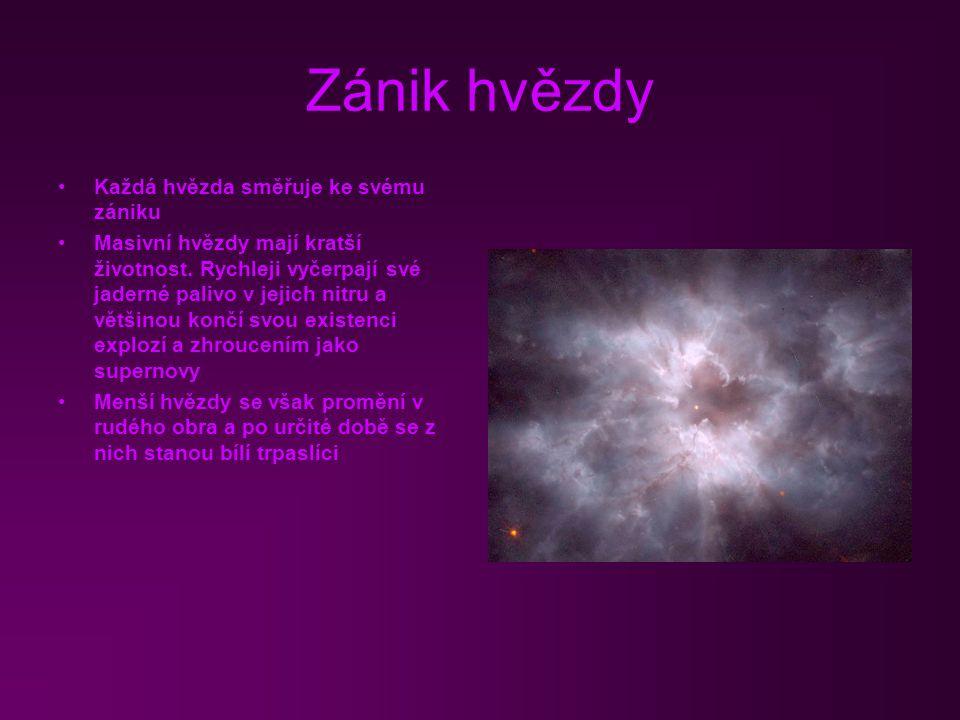 Zánik hvězdy Každá hvězda směřuje ke svému zániku Masivní hvězdy mají kratší životnost. Rychleji vyčerpají své jaderné palivo v jejich nitru a většino