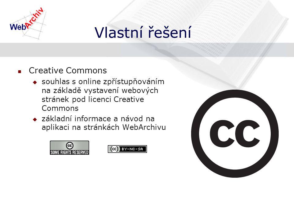 Vlastní řešení Creative Commons  souhlas s online zpřístupňováním na základě vystavení webových stránek pod licenci Creative Commons  základní informace a návod na aplikaci na stránkách WebArchivu